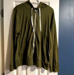 Army green zip up lightweight hoodie